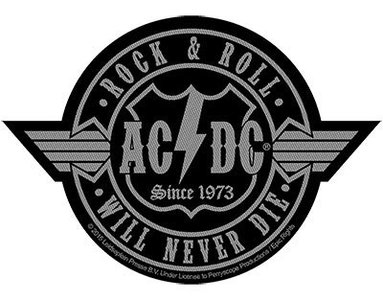 AC/DC patch - Rock N Roll Will Never Die Cut Out