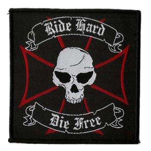 Biker patch 'Ride Hard Die Free'